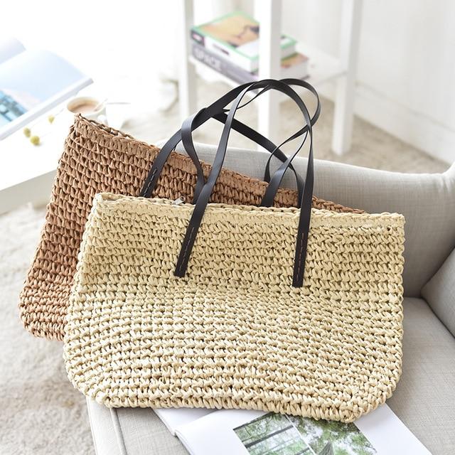 Women Handbag Summer Beach Bag Rattan Woven Handmade Knitted Straw Large Capacity Totes Leather Women Shoulder Bag Bohemia New 3
