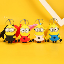 Minions Silica Gel 3D Metal Keychains PVC Environmental Protection Cartoon Key Chain Gift A girls favorite gift KeyRings