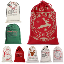 2020 New Year Gift Santa Sacks Personalized Large Claus Bag Custom Christmas Linen Bags Drawstring Cotton Pouch