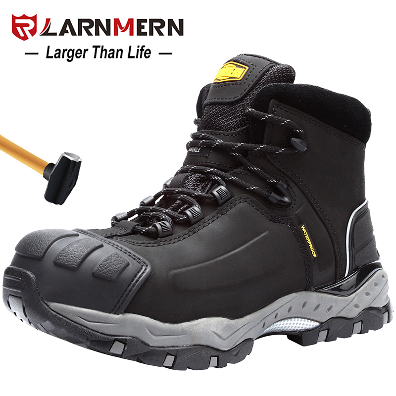 LARNMERN Men's Work Safety Boots Breathable Construction Protective Footwear Steel Toe Anti-smashing Non-slip Sand-proof Shoes