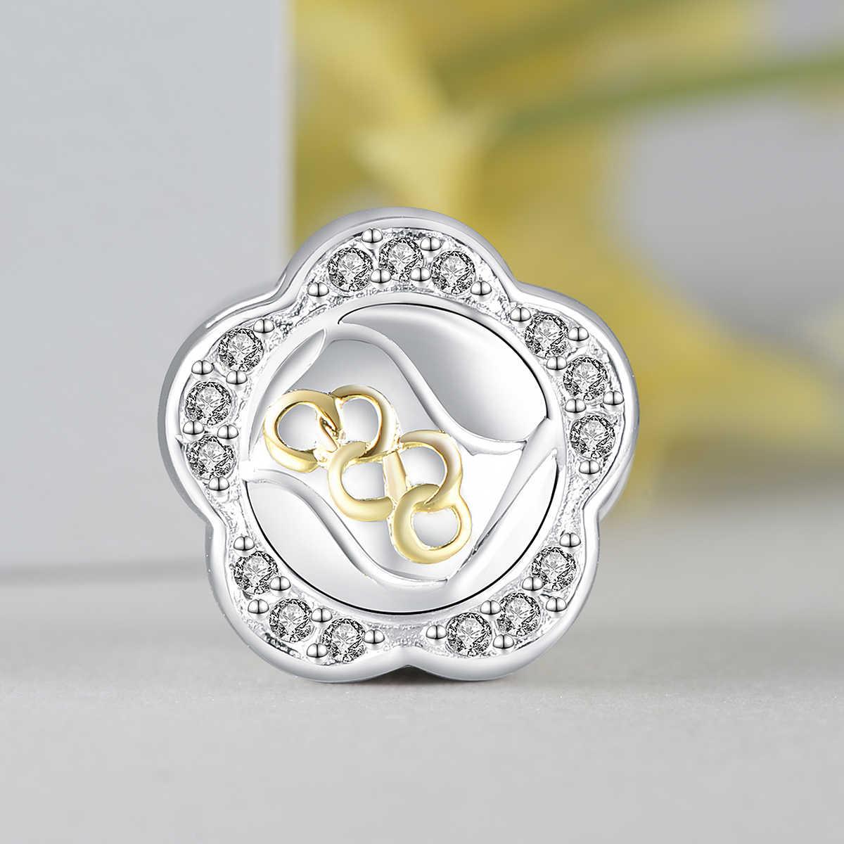 Женские золотистые бусины GW, из стерлингового серебра 925 пробы, Очаровательные Кристаллы с цветком, подходят для оригинального браслета «сделай сам», ожерелье, ювелирные изделия E037