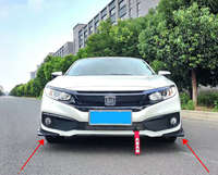 For Honda civic Front bumper lip spoiler Wrap angle PP and carbon fibre Material car rear wing by Primer Color 2016 2019