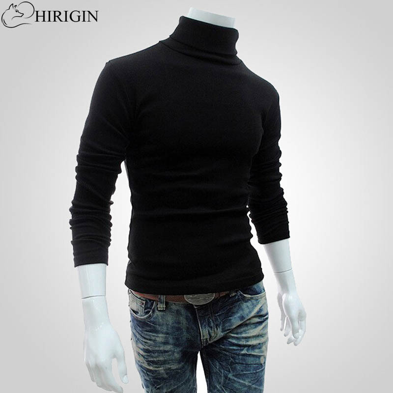 Autumn Winter New Men Slim Warm Cotton High Neck Pullover Jumper Sweater Top Turtleneck Sweaters