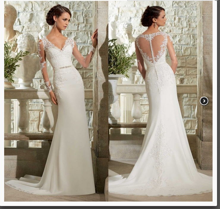 Latest Hot Sale Long Sleeve V-neck Lace Illusion Back Appliques Beaded Bridal Gowns Cheap Bride Vestido De Noiva Wedding Dresses