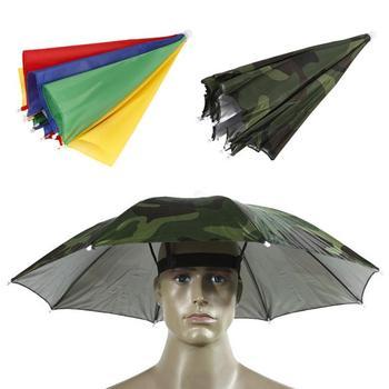 Czapka wędkarska Outdoor Sport czapka parasolka turystyka Camping nakrycia głowy czapka kapelusze na głowę kamuflaż składany krem przeciwsłoneczny cień czapka parasolka 9 tanie i dobre opinie WOMEN Stałe Other Sports Women Men 69cm Umbrella Polyester 170T steel wire plastic 8 bone manual 55CM Camouflage or Rainbow