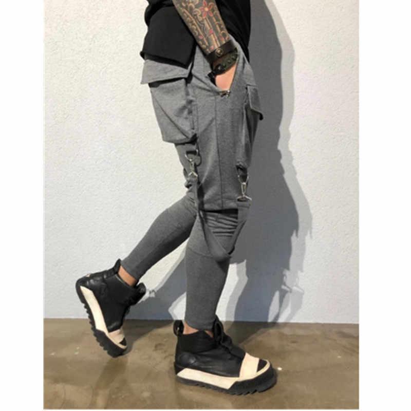 Hot boczne kieszenie ołówek spodnie męskie Hip Hop Patchwork Cargo zgrywanie spodnie dresowe biegaczy spodnie męskie mody pełnej długości spodnie