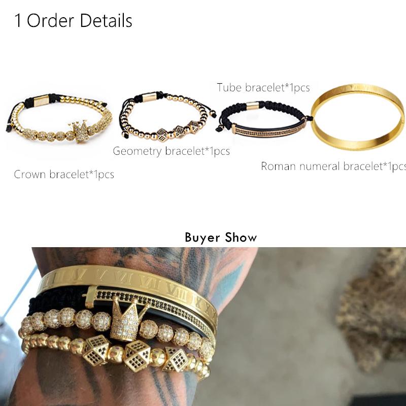 Hot-Sale-Classical-Handmade-Braiding-Bracelet-Gold-Hip-Hop-Men-Pave-CZ-Zircon-Crown-Roman-Numeral