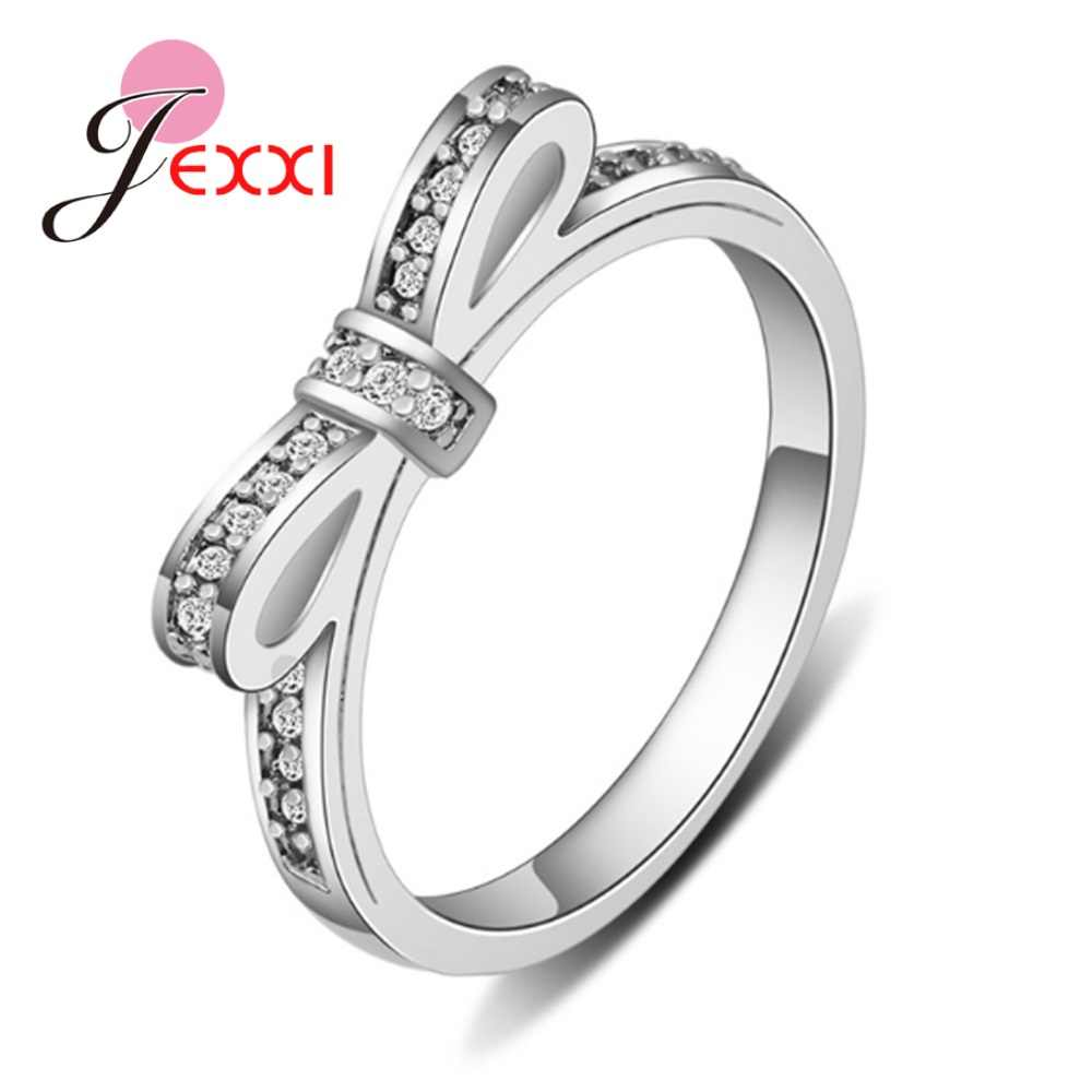 100% auténtica Plata de Ley 925 anillos de dedo Bowknot deslumbrante piedra de circón cúbico pavimentada joyería fina para mujer chica regalo Bague