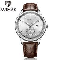 Ruimas Heren Horloges 2019 Top Merk Quartz Horloge Voor Mannen Eenvoudig Ontwerp Horloge Lederen Band Mannelijke Klok Relogio Masculino-in Quartz Horloges van Horloges op