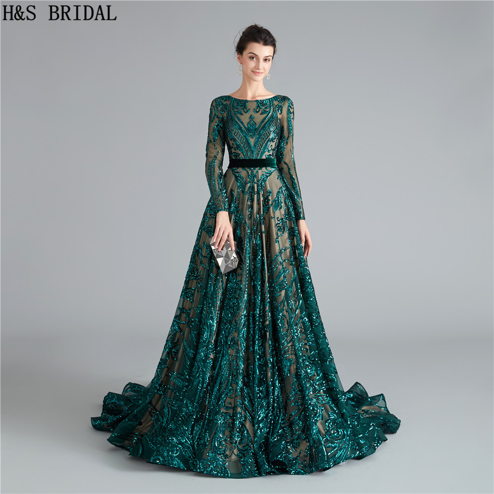 Dark Green Long Sleeves Prom Dresses Sequins Dress Prom Backless Prom Dresses 2019 Evening Gowns Robe De Soiree Formal Dress