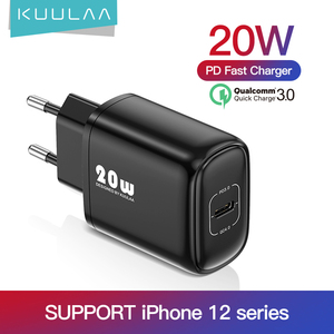KUULAA PD 20W Fast Charging USB C Charger For iPhone 12 Max 12 11 XS XR X 8 Plus PD Charger For iPad Air 4 iPad 2020 Mini Pro