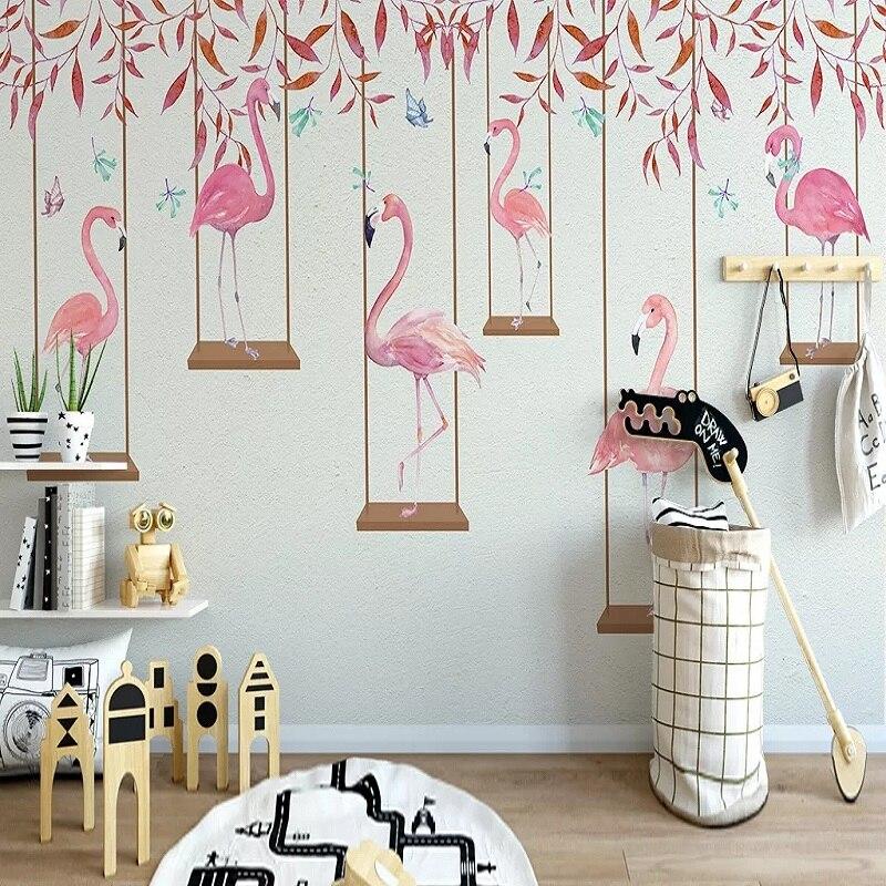 Custom Large Mural 3D Wallpaper Nordic Style Leaves Flamingo Pink Child Bedroom Mural TV Back Wall Decor Deep 5D Embossed