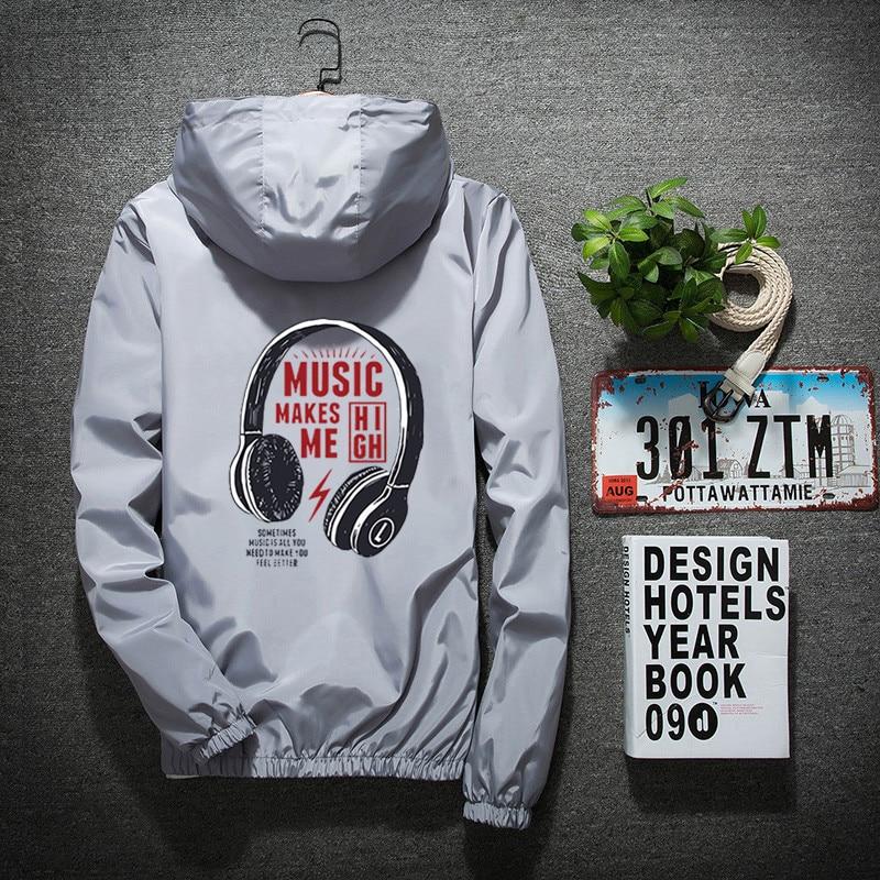 2019 Spring and Autumn Men's Casual Print Thin Hooded Jacket Men's Waterproof Jacket Men's Windbreaker Jacket Men's Jacket