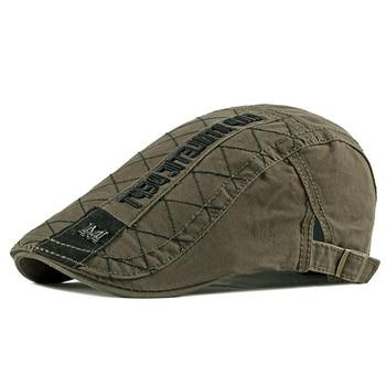 Wuaumx Casual Men's Hats Retro Berets Hat For Women Cotton Visors Embroidery Herringbone Flat Caps Artist Peaked Newsboy Cap