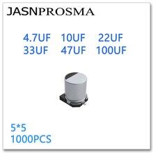 JASNPROSMA 1000 шт. 5*5 4,7 мкФ 10 мкФ 22 мкФ 33 мкФ 47 мкФ Ф 100 мкФ 4 в 10 в 16 в 25 в 35 в 50 в SMD 5x5 Алюминиевые Электролитические Конденсаторы