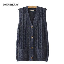 Twist Sweater Vest Women V Neck Sleeveless Knitted Cardigan 2020 Casual Solid Pockets Button Waistcoat Tops