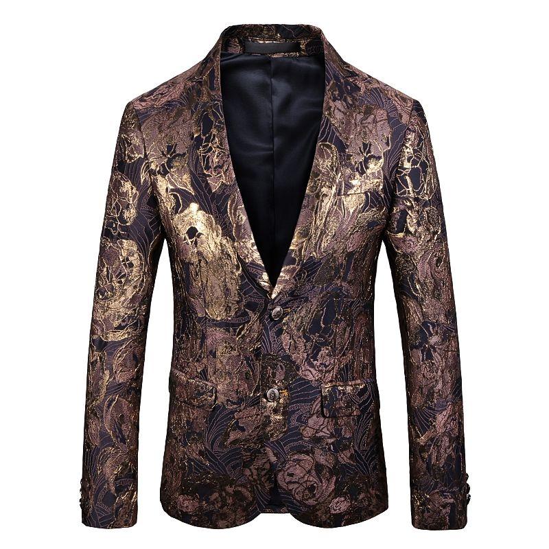 Gold Floral Blazer Men Party Stage Singer Costume Homme Costume Homme Mariage 2021 Spring Brand New Mens Patchwork Blazer Jacket