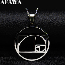 2019 Fashion Metatrons Cube Stainless Steel Necklaces for Women Silver Color jewelry collier femme N19334
