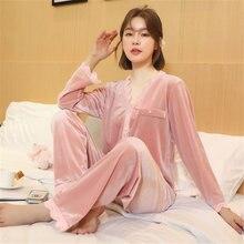 Женский бархатный пижамный комплект простой в стиле принцессы