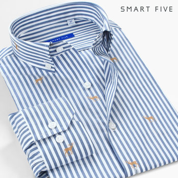 Summer 100% Cotton Striped Shirts Men Clothing Long Sleeve Camisa Masculina Deer embroidery Men Shirt Slim Fit 2021 New 1