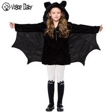 4-16t Kid Girls Black Bat Costume Halloween Hooded Jumpsuit Romper Cosplay Outfit With Wings Ears Stockings For Child Teen Girls yuyaobaby black 16t