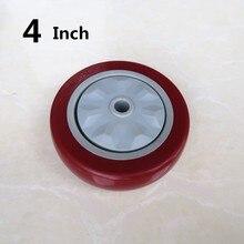 1 шт. 4 дюйма с одним колесом заклинателя красный Средний полиуретана бесшумный плоский драйвер тележка