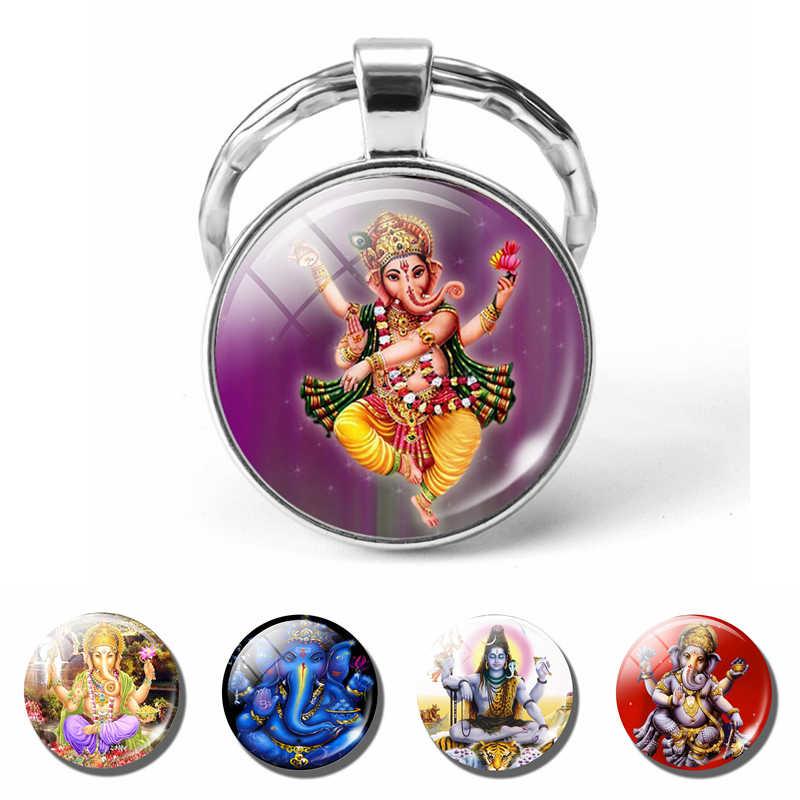 מזל הודי פיל ראש אלוהים גאנש Keychain תכשיטי זכוכית כיפת קרושון תליון מפתח שרשרת טבעת קמע משפחת קסם מתנה