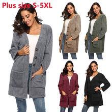 С длинным рукавом зимняя куртка женщин меха пальто свободного покроя однобортный карманы пальто Женские куртки плюс размер S-формы 5XL Весте роковой
