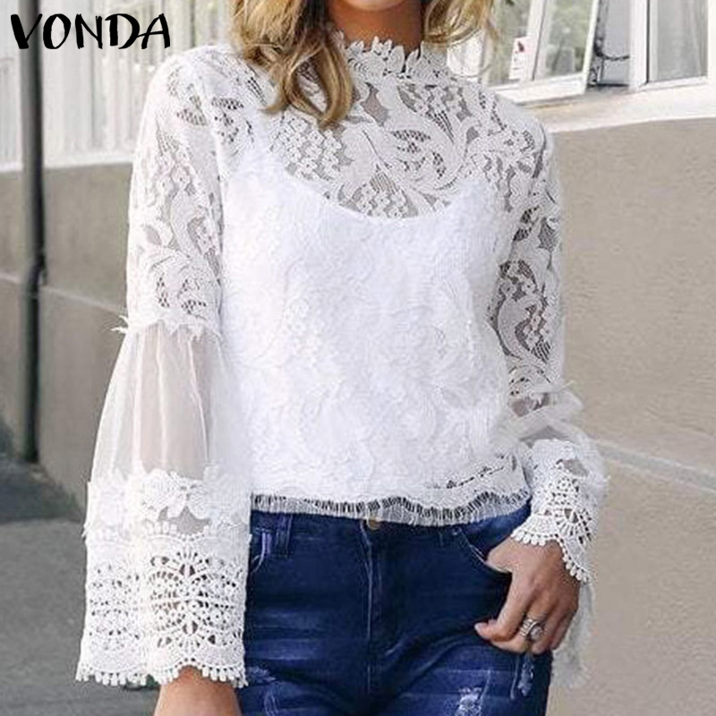 VONDA Women Lace Blouse And Tops 2019 Spring Summer Sexy Hollow Out Blusas Plus Size Ladies Office Shirt Bohemian Mesh Tunics