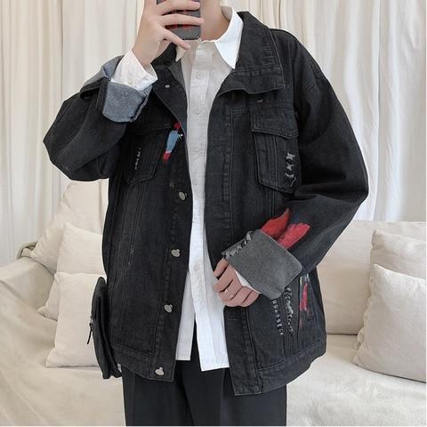 Autumn New Denim Jacket Men Fashion Printing Washed Casual Denim Jacket Man Streetwear Wild Hip Hop Loose Bomber Jacket M-5XL Pakistan