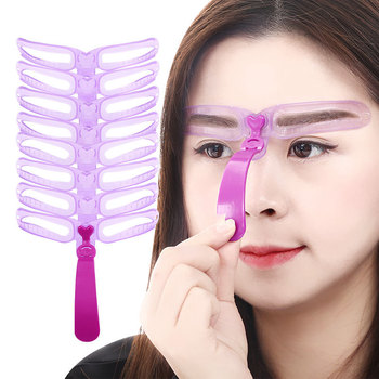 Reusable 8 in 1 Plastic Eyebrow Shaping Templates Helper Eyebrow Stencils Kit Grooming Card Eyebrow Design Makeup Tools