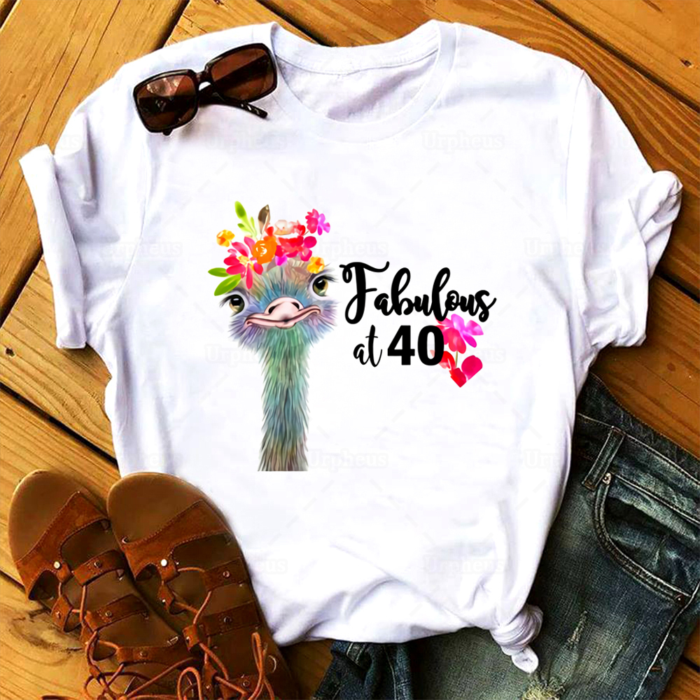 Vintage 1980 40th Birthday T Shirt Fabulous At Forty Floral Shirt For Birthday Gift