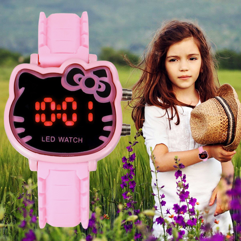 Children's Watch Led Digital Watch Irregular Cartoon Image Dial Girl Electronic Watch Multiple Colors Fashion Casual Kids Clock