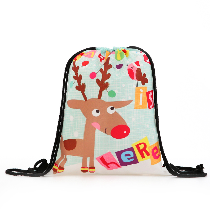 Backpack Fashion Women Mini Drawstring Christmas Backpack 3D Printing Travel Softback Bags Men Drawstring Bag Female Deer New