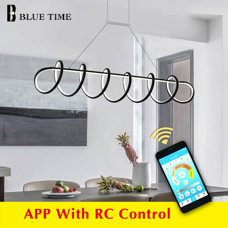 Kitchen Led Chandelier For Home Dining room Living room Luminaires Modern LED Chandelier Lighting White Black Metal Hanging Lamp in Chandeliers from Lights Lighting