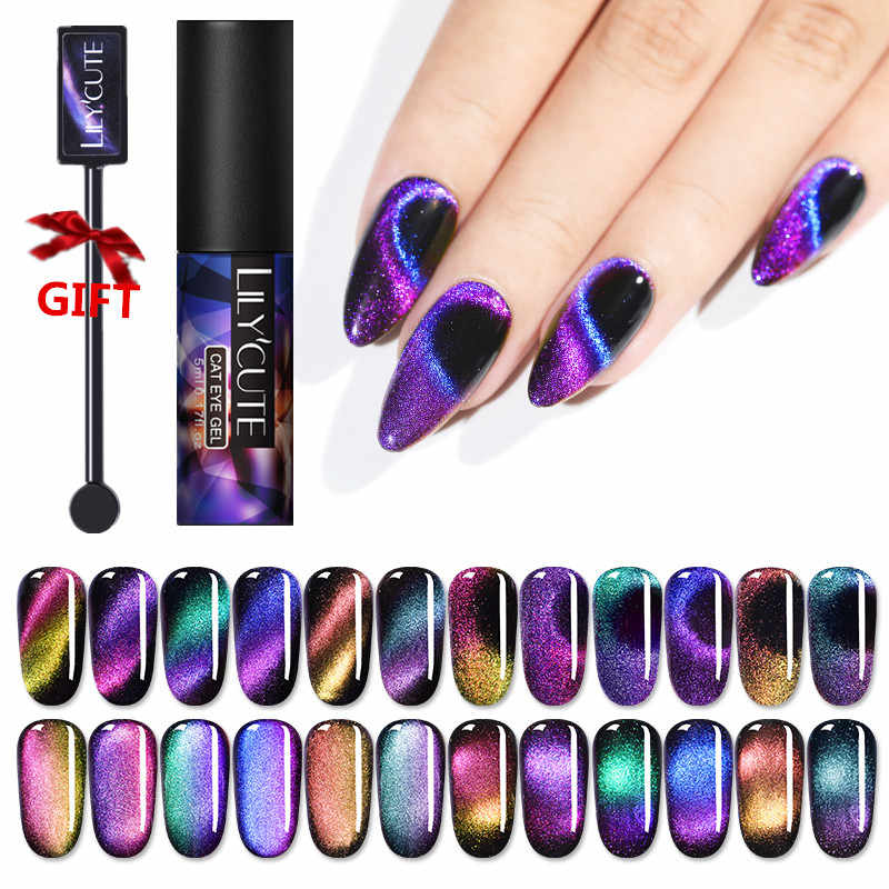 LLYCUTE 5Ml Aurora Nail Magnetic Gel Nail Polish Cat Eye Nail Art Gel Tahan Lama Bersinar Laser Rendam Off UV LED Gel Varnish