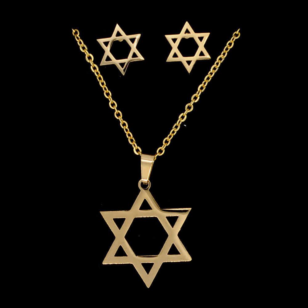 Estrela de david 100% aço inoxidável pvd ouro cheio brinco colar conjunto jóias dropshipping 45cm pingente colares aaaa qualidade