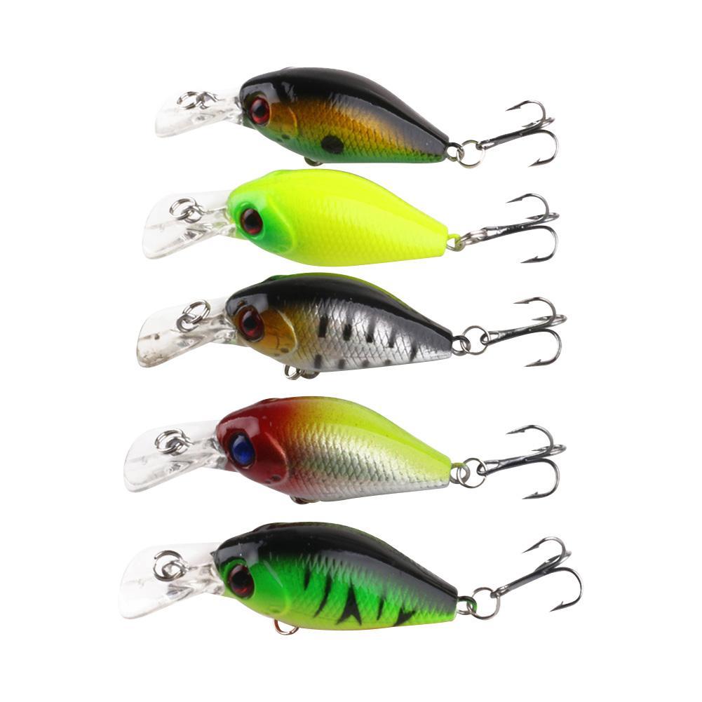5pcs Fishing Lure Kit Crank Bait Artificial Lures Wobblers Rock Fat Bait Soft Bait Worm Grubs T Tail Wobblers Fishing Lure Iscas
