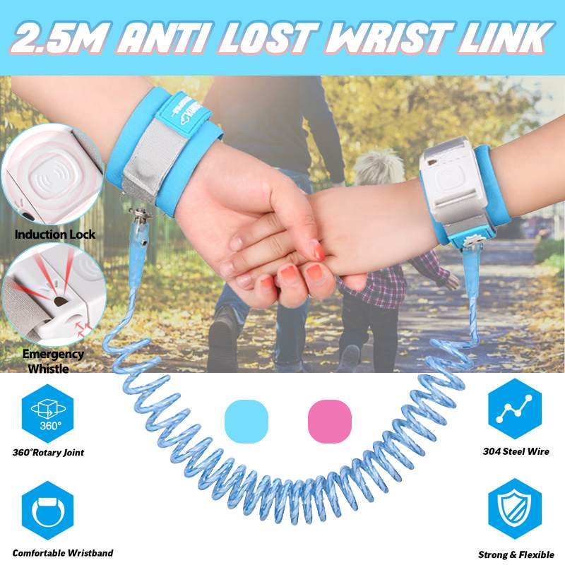2.5m Anti Lost Wrist Link Magnetic Induction Lock Toddler Leash Safety Harness Baby Strap Wristband Children Walking Hand Belt