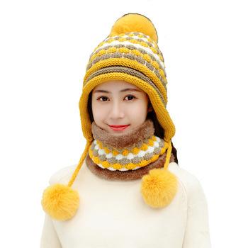 2019 nowy wełny czapka zimowa z dzianiny zestaw szalików kobiety grube bawełniane czapki zestaw szalików kobieta dzianiny zimowe akcesoria dziewczyny czapki tanie i dobre opinie womens hat scarf gloves set winter women hat thick warm hat scarf glove women hats and scarf women wool knitted hat women pom pom hat