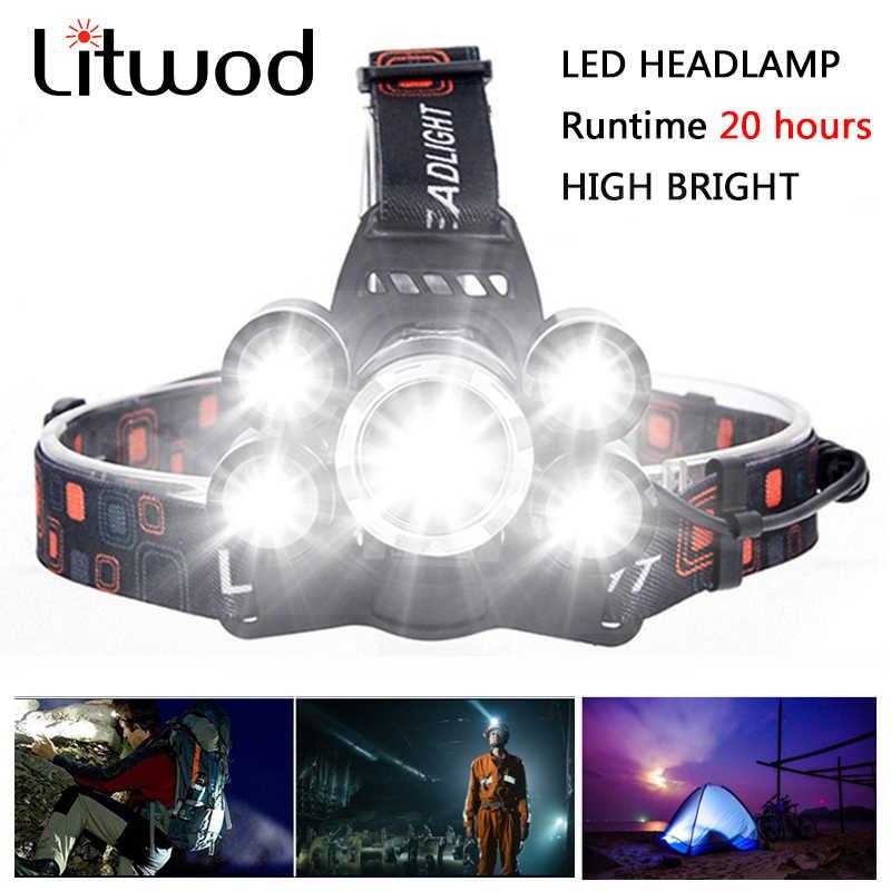 Linterna frontal Litwod Z20 de alta potencia, 5 led, 12000LM, cree xml t6 linterna LED para cabeza 18650, linterna recargable