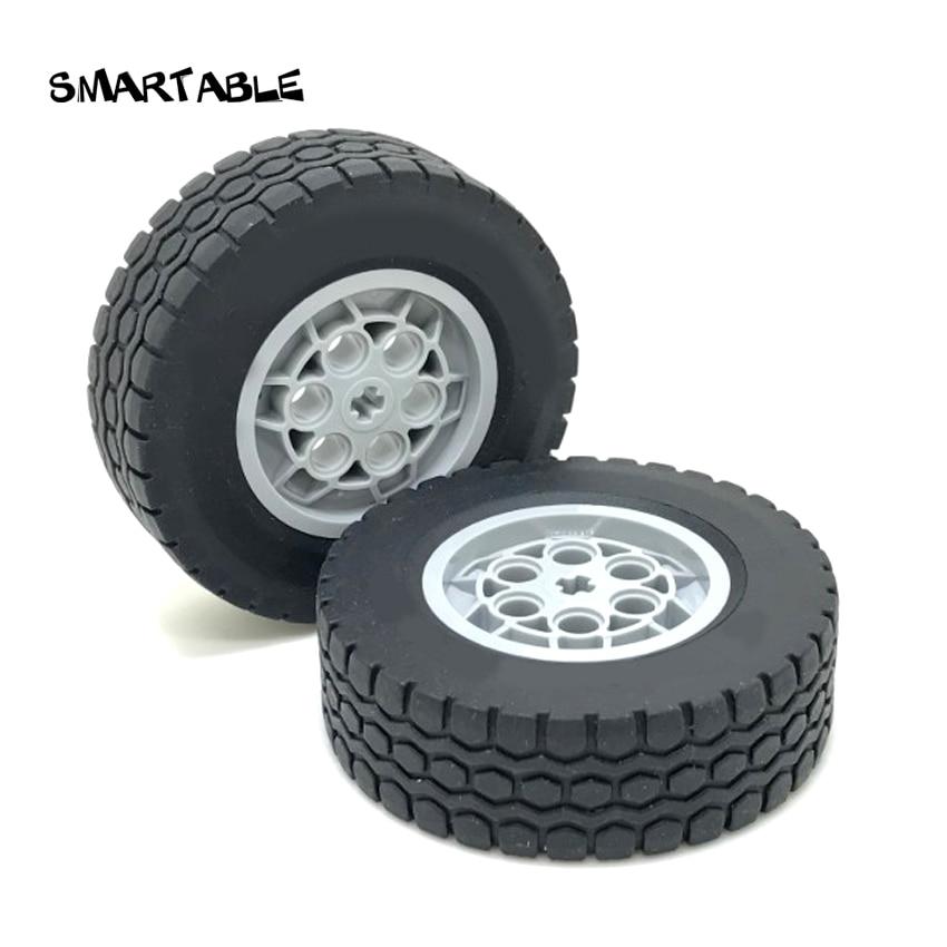 Smartable Technic Ev3 MOC 62.4x20mm Wheel Rims Tyre Parts Building Block Toy For Cars Compatible Technic 32019+86652 4pcs/set