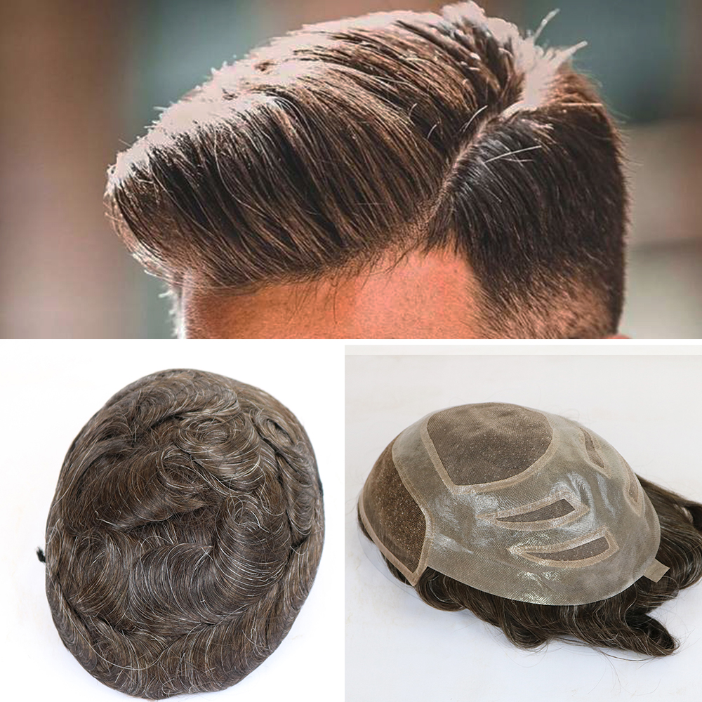 6 Inches Hair Men's Toupee 100% Virgin Human Hair Replacement System For Men 10