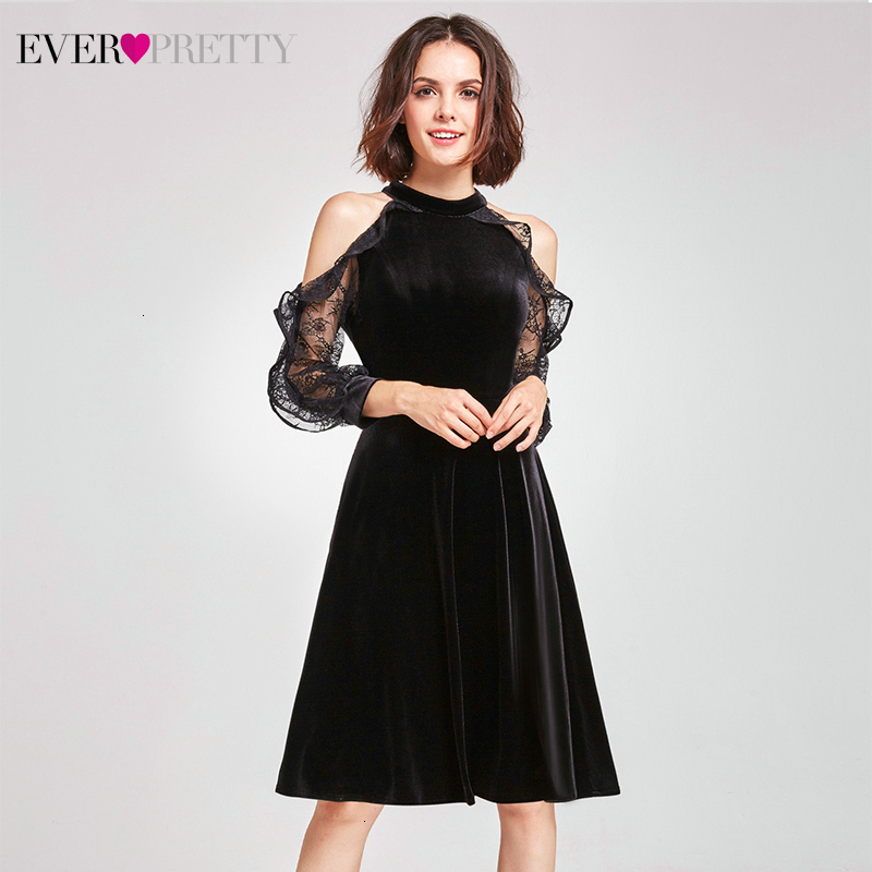 Элегантное бархатное платье Cockatil, милое платье с лямкой на шее, а-силуэт, кружевное, длинный рукав, выше колена, сексуальное вечернее платье, vestidos De Coctel - Цвет: AS05896BK