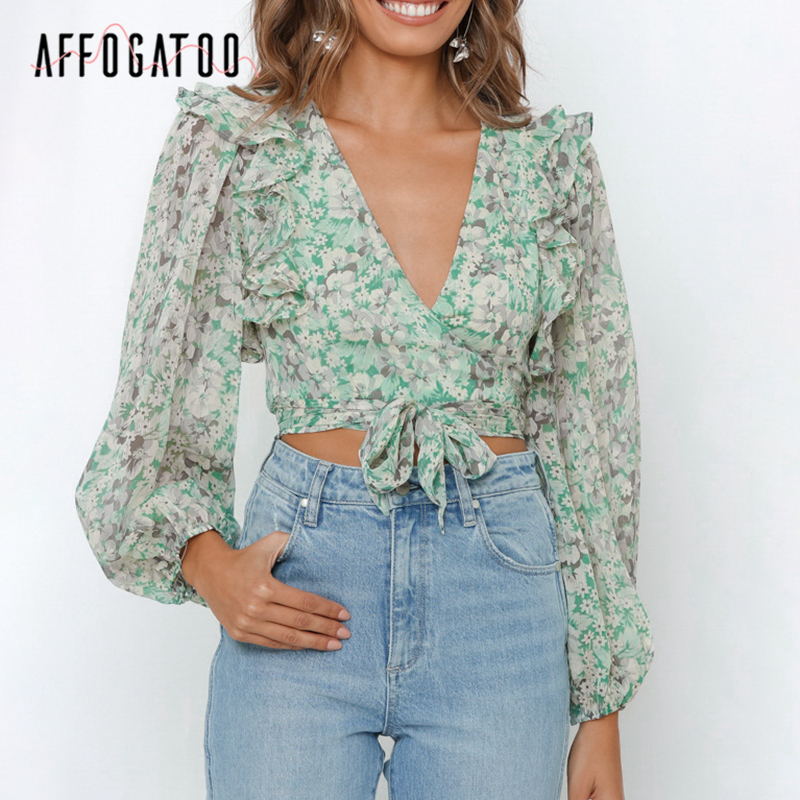 Affogatoo Sexy V-neck Elegant Ruffle Floral Print Women Chiffon Blouse Shirts Bow Tie Female Tops Vintage Bohemian Ladies Blouse