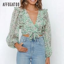 Affogatoo Sexy v-neck elegant Ruffle floral print women chif