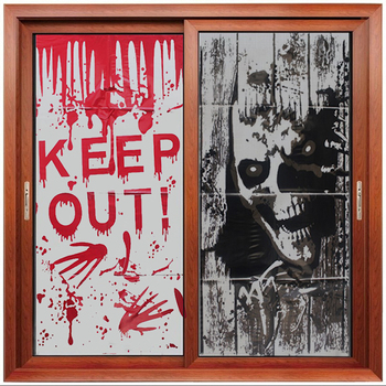 1 Pcs New Fashion Halloween Haunted House Giant Bloody Eerie Wall Door Window Poster Sticker Party image