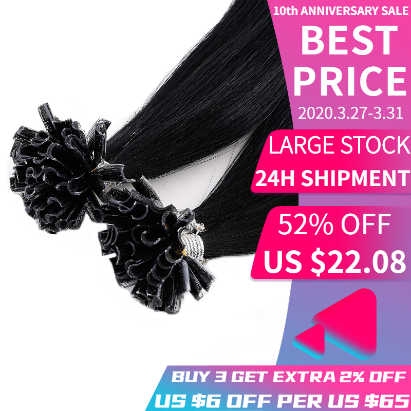 K.S WIGS 16'' 20'' 24 28'' Keratin Pre Bonded Capsule Fusion Nail U Tip Double Drawn Straight Remy Human Hair 1#