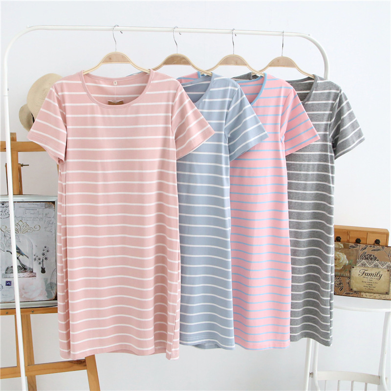 Summer With Chest Pad Pajamas Mid-length Nightgown Knitted Cotton Cup One-piece Hole-Bra Short Sleeve Women's Home Dress Batch