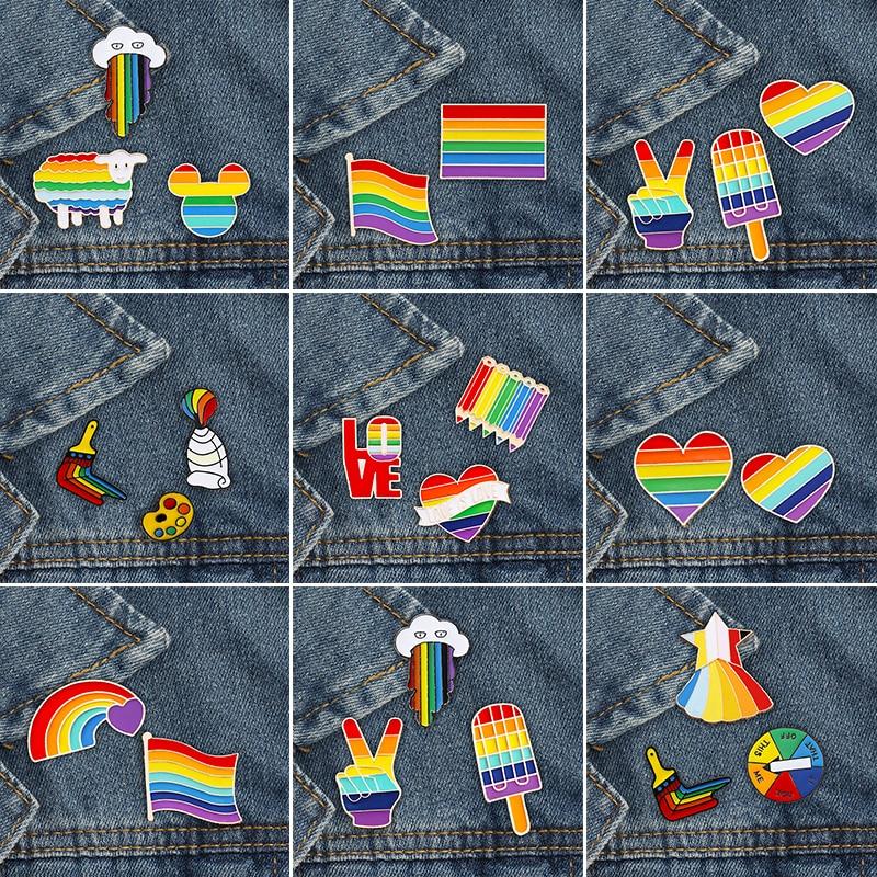 2-3 шт./компл. с изображением ЛГБТ-радуги брошь с изображением сердца флага овечки мыши эмалированные булавки для лесбиянок геев знак гордост...